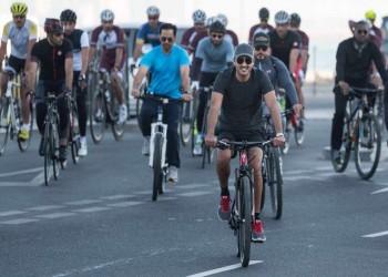 على دراجة هوائية.. الأمير «تميم» يشارك القطريين احتفالاتهم بـ«اليوم الرياضي»