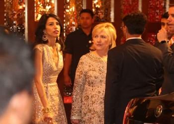 هيلاري كلينتون وكيري  بحفل زفاف ابنة اغنى رجل بالهند