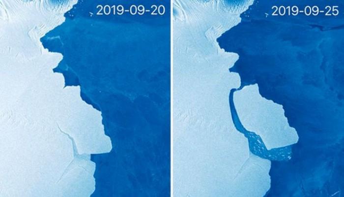 أكبر جبل جليد منذ 50 عاما ينفصل عن القارة المتجمدة بالجنوب