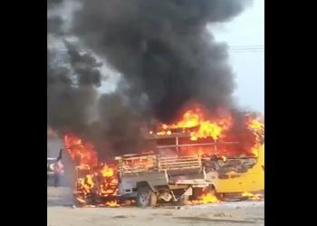 إصابة 4 تلميذات إثر حريق بحافلة مدرسية جنوبي السعودية (فيديو)