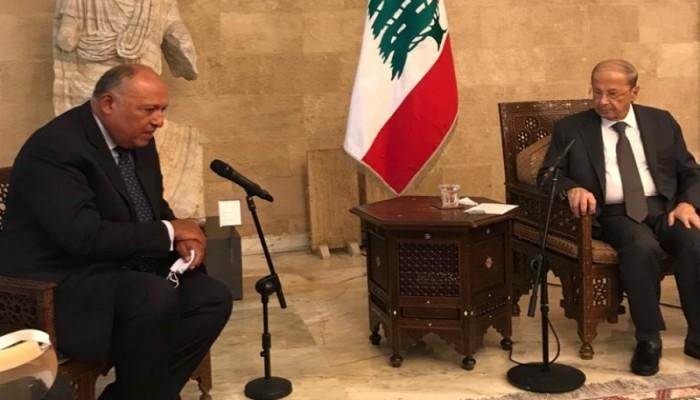 الرئيس اللبناني يستقبل وزير الخارجية المصري في بيروت
