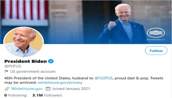 تويتر يحول حساب رئيس الولايات المتحدة الرسمي من ترامب إلى بايدن