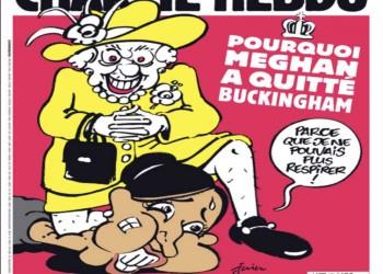 شارلي إيبدو تثير غضب البريطانيين.. رسم صادم عن الملكة إليزابيث وميجان